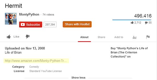 Monty Python Youtube Purchase Video Link