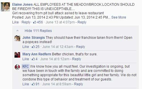 KFC Facebook Criticism