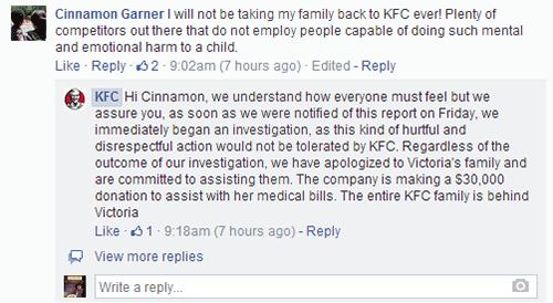 kfc facebook responding